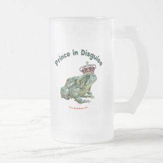 Príncipe de la rana del sapo en disfraz taza de cristal