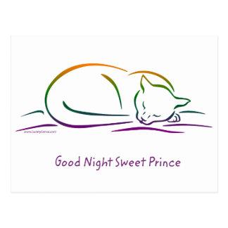 Príncipe dulce de las buenas noches (gato) postales