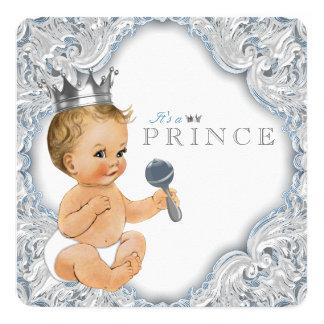 Príncipe fiesta de bienvenida al bebé de los invitación 13,3 cm x 13,3cm