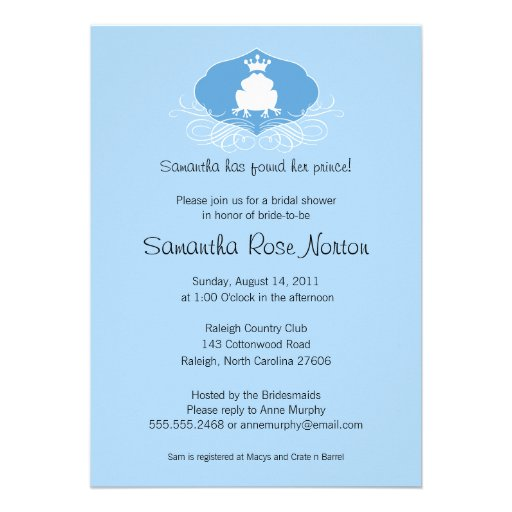 Príncipe Frog Themed Bridal Shower Invitacion Personal