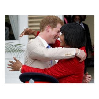 Príncipe Harry y postal del P.M. Portia Simpson