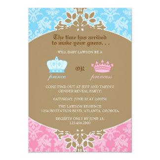 Príncipe o princesa Damask Gender Reveal Party Invitación 12,7 X 17,8 Cm