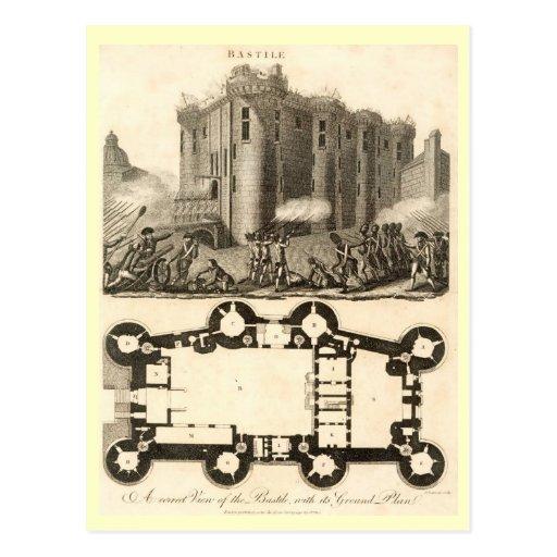 Prisión del Bastille, con planes, París Tarjeta Postal