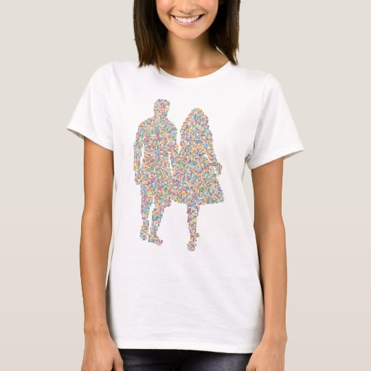 Prismatic Couple Holding Hands Silhouette Camiseta