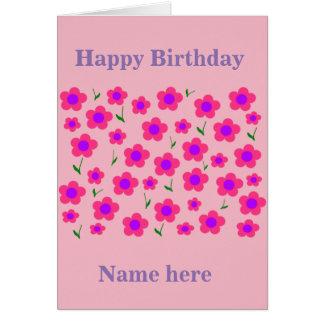 Pritty en rosa tarjeta de felicitación