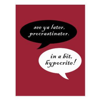 Procrastinator contra hipócrita tarjeta postal