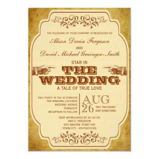 Producción del teatro del boda del vintage invitación 12,7 x 17,8 cm