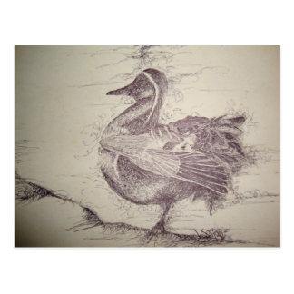 Producto con un dibujo blanco y negro de un pájaro postal