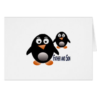 Producto múltiple del pingüino del padre y del hij tarjeta de felicitación