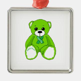 Productos del oso de peluche de la conciencia de adorno navideño cuadrado de metal