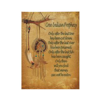 """""""Profecía india del Cree """" del nativo americano Póster De Madera"""