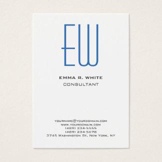 Profesional blanco del monograma azul moderno tarjeta de negocios