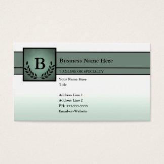 profesional con monograma (verde verde oliva) tarjeta de negocios