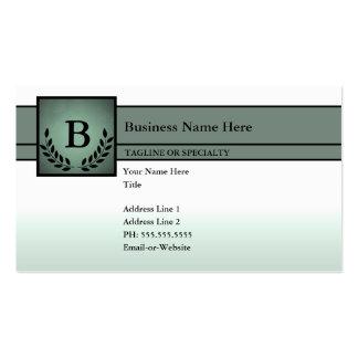 profesional con monograma (verde verde oliva) plantillas de tarjetas de visita