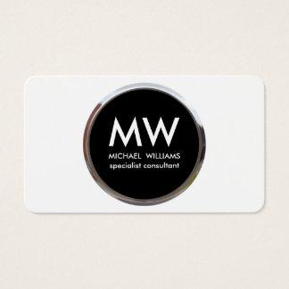 Profesional elegante metal círculo negro plata tarjeta de negocios