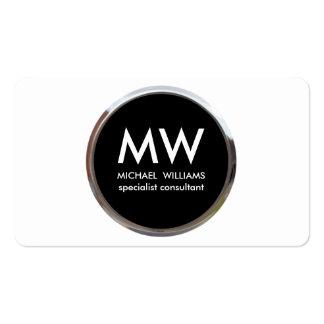 Profesional elegante metal círculo negro plata tarjetas de visita