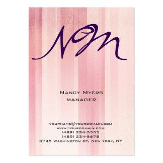 Profesional rosado único moderno del monograma del tarjetas de visita grandes