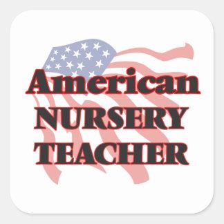 Profesor americano del cuarto de niños pegatina cuadrada