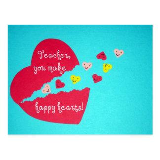 Profesor/corazones felices postal