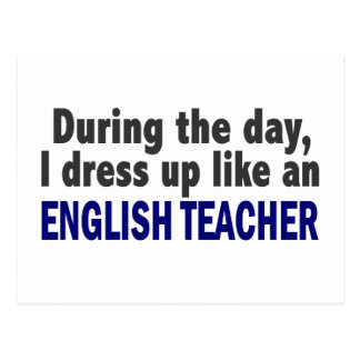 Profesor de inglés durante el día postales