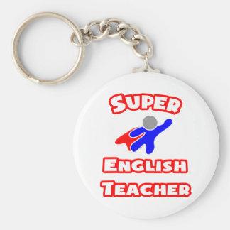 Profesor de inglés estupendo llavero redondo tipo chapa