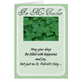 Profesor de la tarjeta del día de St Patrick