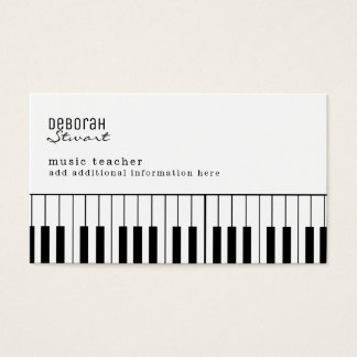 profesor de música del piano elegante tarjeta de visita