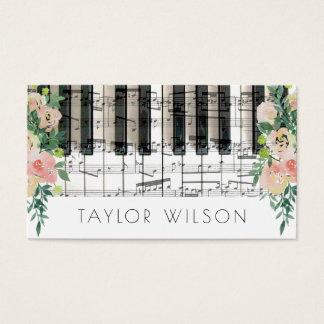 profesor de música floral del pianista de la tarjeta de visita
