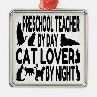 Profesor del preescolar del amante del gato adorno cuadrado plateado
