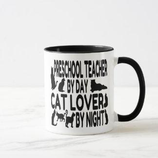 Profesor del preescolar del amante del gato taza