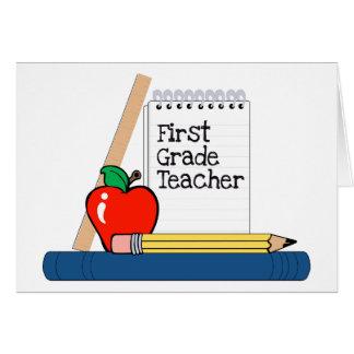 Profesor del primer grado (cuaderno) tarjeta de felicitación