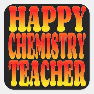 Profesor feliz de la química en colores alegres pegatina cuadrada