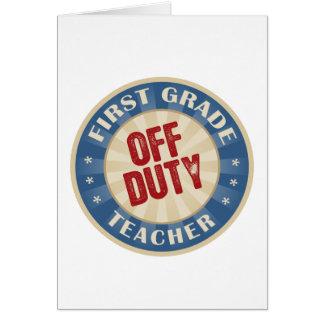 Profesor fuera de servicio del primer grado tarjeta