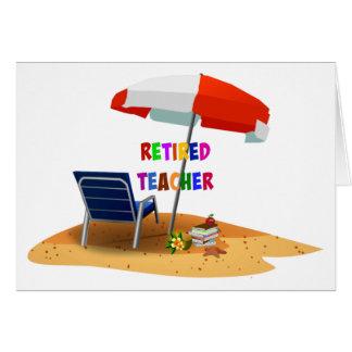 Profesor jubilado, escena de la playa (revisada) tarjeta de felicitación