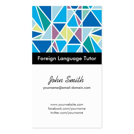 Profesor particular del idioma extranjero - geomet plantilla de tarjeta personal