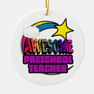 Profesor preescolar impresionante del arco iris de adorno de navidad