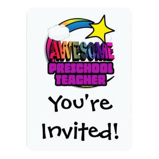 Profesor preescolar impresionante del arco iris de invitacion personalizada