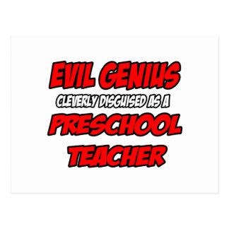 Profesor preescolar malvado del genio… tarjetas postales