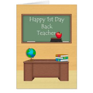 Profesor, primer día de nuevo a escuela tarjeta de felicitación