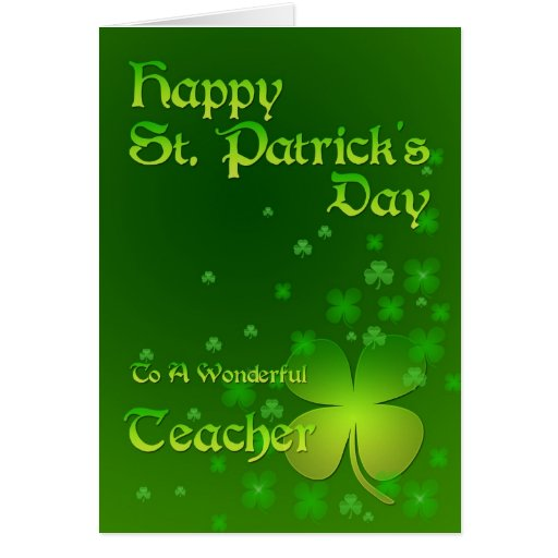 Profesor, tarjeta del día de St Patrick feliz
