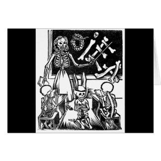 """Profesor y estudiantes esqueléticos """"día del muert tarjetas"""