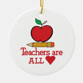 Profesores todo el corazón adorno redondo de cerámica