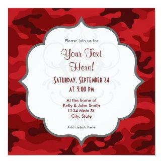Profundamente, Camo rojo oscuro, camuflaje Invitación 13,3 Cm X 13,3cm