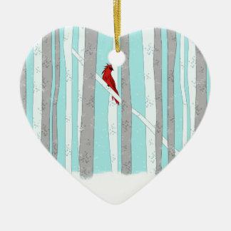 Profundamente en el bosque adorno navideño de cerámica en forma de corazón