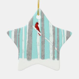 Profundamente en el bosque adorno navideño de cerámica en forma de estrella