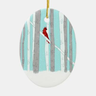 Profundamente en el bosque adorno navideño ovalado de cerámica
