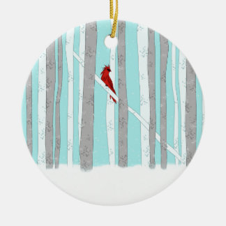 Profundamente en el bosque adorno navideño redondo de cerámica