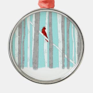 Profundamente en el bosque adorno navideño redondo de metal