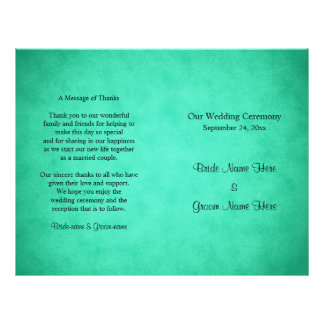 Programa abigarrado verde del boda del modelo folleto 21,6 x 28 cm