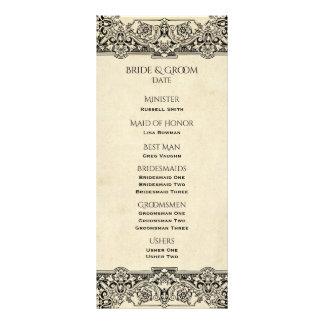 Programa adornado del boda del vintage